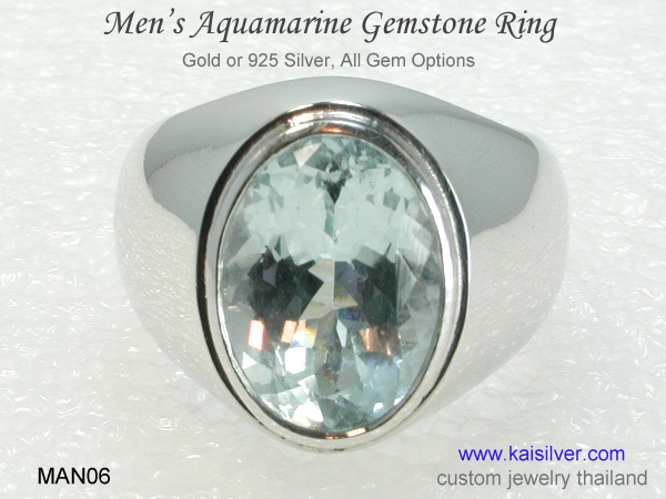 custom men's ring aquamarine gemstone