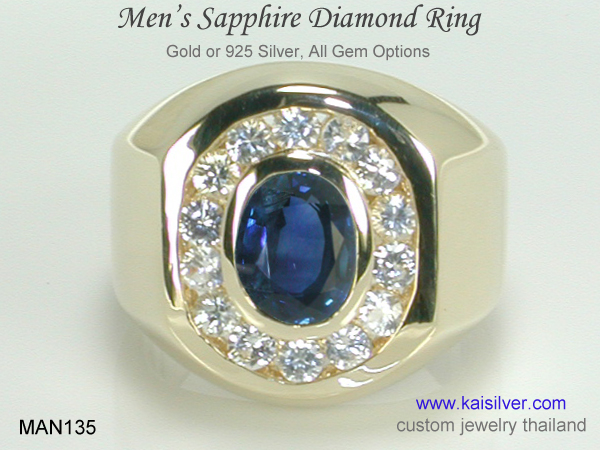 sapphire gold or silver ring