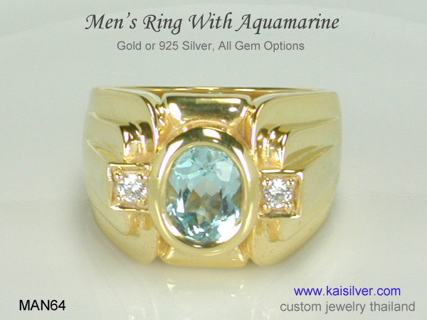 aquamarine gemstone ring for men