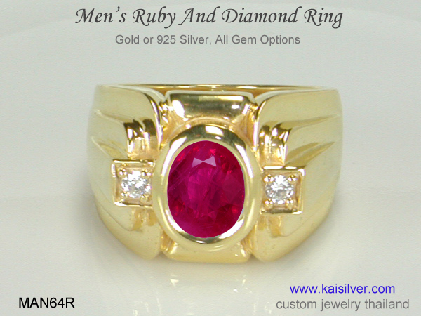 ruby ring for men gold or silver