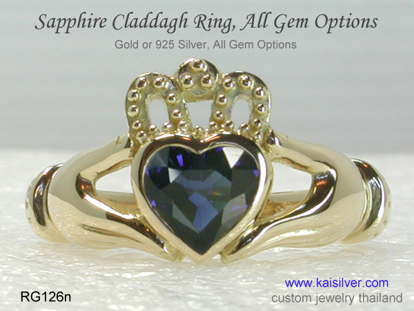 claddagh sapphire ring