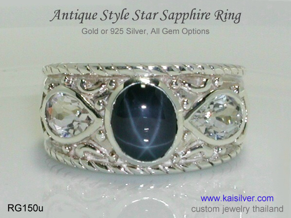 antique ring sterling silver gemstone ring