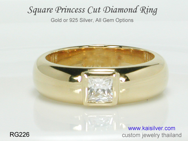 square diamond ring for men