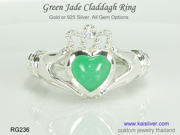 claddagh ring with jade