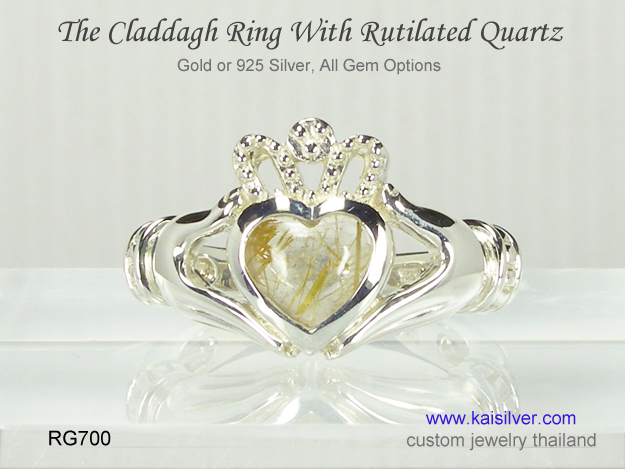 claddah gemstone ring rutilated quartz