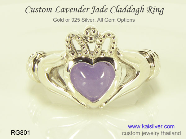 custom jade claddagh ring