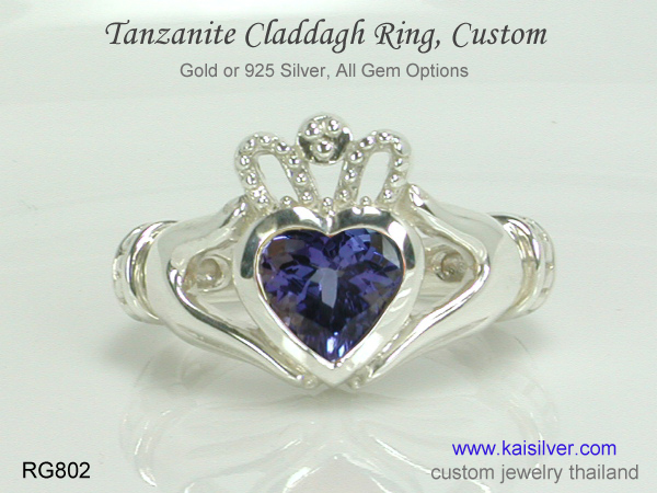tanzanite claddagh ring gold or silver